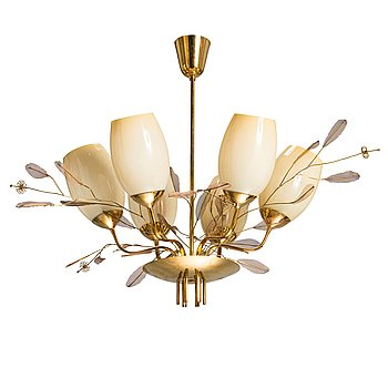 Paavo Tynell, A mid-20th-century '9029/6' chandelier for Taito, Finland.