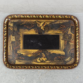A painted and decorated tin serving tray, England ca 1840.