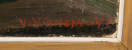 Veikko vionoja, oil on canvas, signed and dated -43.