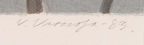 Veikko vionoja, litografia, signeerattu ja päivätty -83, merkitty tait.vedos.