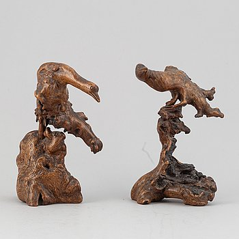 Two Chinese root scultpures, late Qing dynasty.