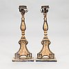 A pair of probably 18th century central european floor candlesticks.