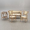 A set of sofa, table and armchairs, bamboo, first part of the 20th century.