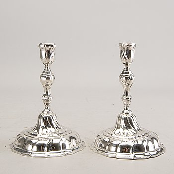 A pair of German silver candle sticks around 1900 total weight 374 gr.