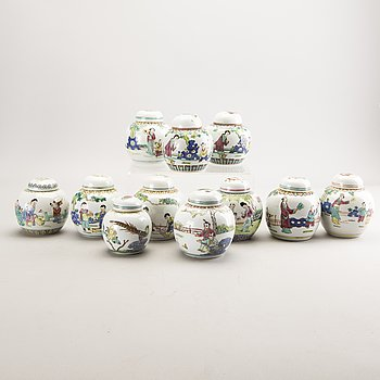 A set of 11 Chinese porcelain urns later part of the 20th century.