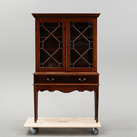 A mahogany vitrine cabinet, george iii-style, late 19th century.