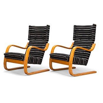 Alvar Aalto, A pair of mid-20th century '34/401' armchairs for  O.Y. Huonekalu- ja Rakennustyötehdas A.B. Finland.
