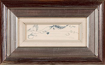Tove Jansson, drawing, signed and dated 2. jan.