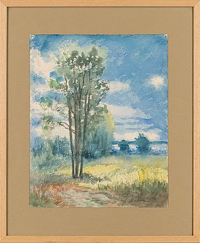 Juho Mäkelä, watercolour, signed and dated 1939.