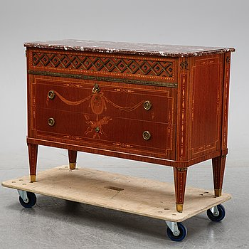 A Gustavian style chest of drawers, Carl Löfving & Söner, mid 20th Century.
