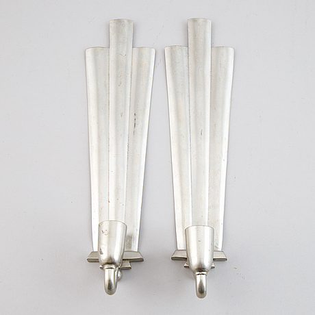 A swedish grace pewter mirror and 2+2 sconces, 1920-30s.