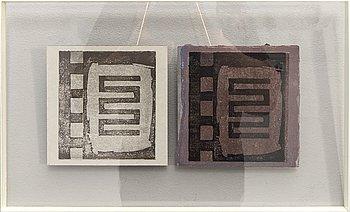 "Siri Berg, Japanese block print on paper, 2 pcs, ""Micro"", signed."