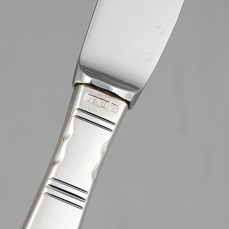 Jacob ängman, 37 silver knives, model 'rosenholm', gab.