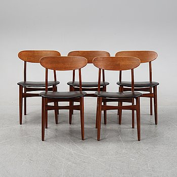 A set of five teak chairs from Farstrup Denmark, 1950/60's.