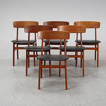 A set of six teak chairs from Farstrup, Denmark, 1950/60's.