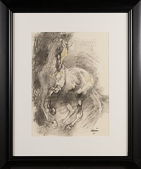 Jean-Louis Sauvat, mixed media on paper, signed.