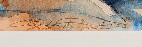 Mika törönen, akvarelli, signeerattu ja päivätty 2003.