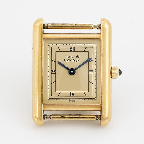 Must de cartier, tank, wristwatch, 20,5 x 20 (28) mm.