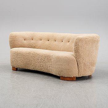 A Danish shearling upholstered sofa, 1940s.