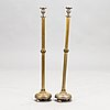 A pair of silver plated brass floor candlesticks, 20th century.