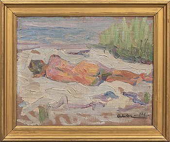 Albert Abbe, oil on canvas laid on panel, signed, dated -14.