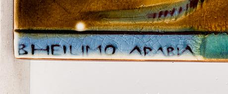 Brita heilimo, väggplakett, keramik, signerad b heilimo arabia.