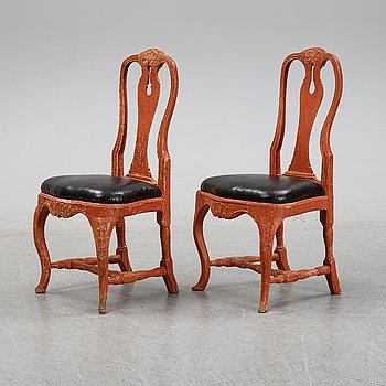 A pair of rococo chairs, mid 18th Century.