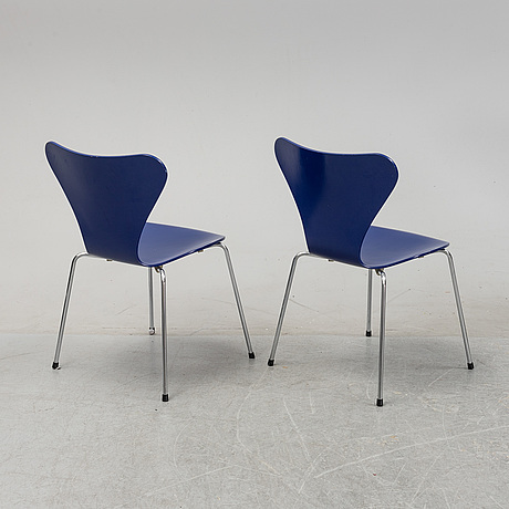 "Arne jacobsen, stolar, åtta stycken, modell ""sjuan"" fritz hansen, danmark, 1989."