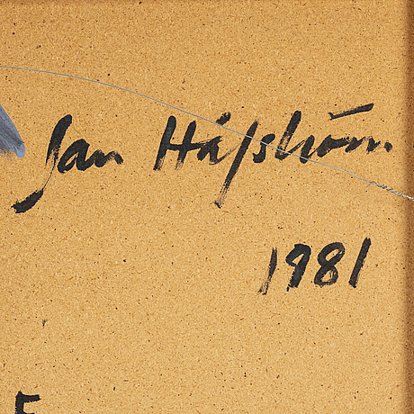Jan håfström, acrylic on panel, signed and dated 1981 verso.