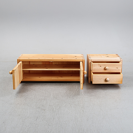 A pinewood cabinet and a chest of drawers, 'patrik', möbel-shop sven larsson ab, 1970's.