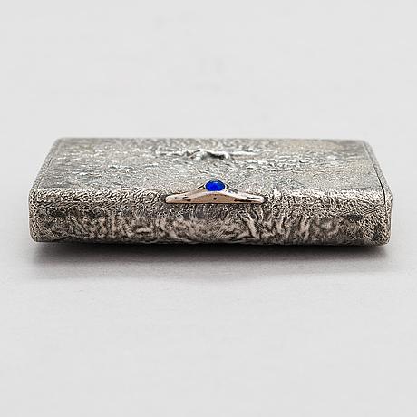 A russian, early 20th century silver cigarette case, samodorok technique.