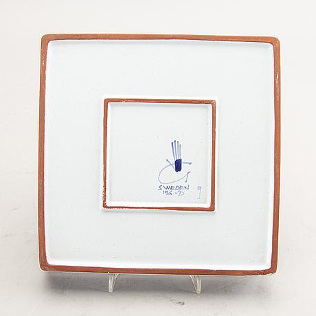 A stig lindberg signed faience  plate.