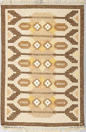 Ingegerd silow, matto,  flat weave, ca 197,5 x 137,5-141,5 cm, signed is.