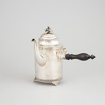 A late Gustavian silver coffee pot by Stephan Westerstråhle, Stockholm, 1811.