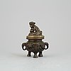 A chinese bronze censer with lid, qing dynasty, 19th century.