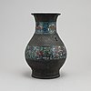 A chinese bronze and cloisonné vase, around the year 1900.