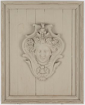 Wall relief, 20th Century, painted plaster & wood.