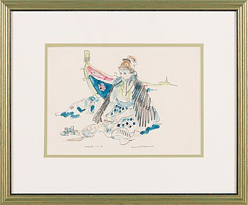 Henrik Tikkanen, watercolour and pencil, signed and dated -74.