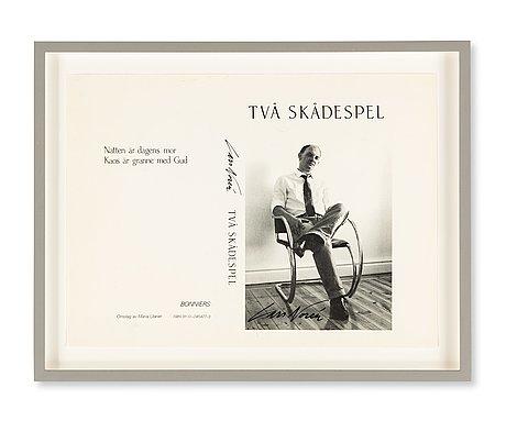 A framed book cover, trial proof, 'två skådespel', by lars norén, published by bonniers, stockholm, 1983.
