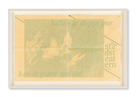 """A theater poster, trial proof with handwritten notes, """"natten är dagens mor, kaos är granne med gud"""", stadsteatern."""