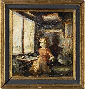 Stellan Mörner, oil on paper-panel, signed.