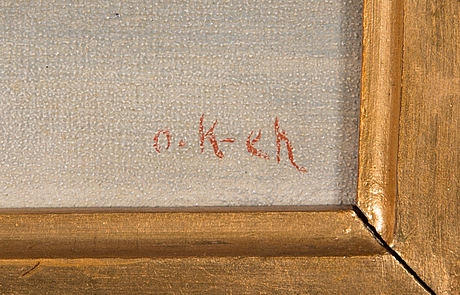 Oscar kleineh, oil on board, signed.