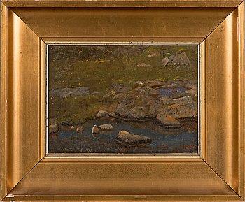 Oscar Kleineh, öljy levylle, signeerattu. Merkattu 'Hallerön 1879'.