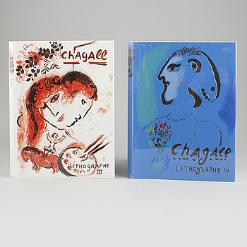 Marc Chagall, two books, Chagall Lithographe III-IV, 1962-1973.