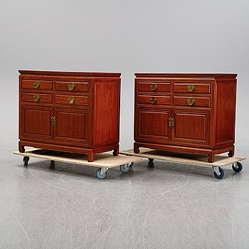A pair of cupboards or sideboards, Yuen Cheong Furniture Co, Hong Kong, second half of the 20th century.