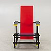 """Gerrit rietveld, efter  karmstol """"red/blue chair"""" cassina numrerad 1688."""
