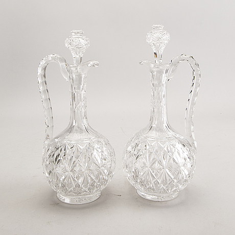 A set of five czech republic glass decanters first half of the 20th century.