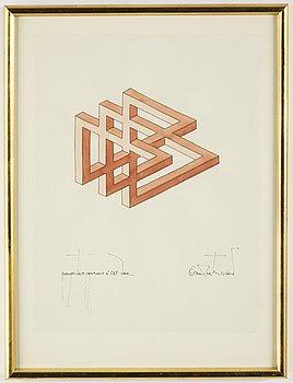 Oscar Reutersvärd, akvarell, signerad.