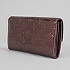 Louis vuitton, a burgundy vernis wallet.