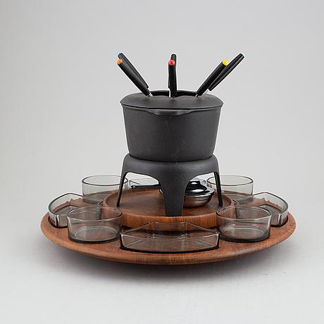 A fondue set by jens quistgaard, digsmed, denmark, 1960's.